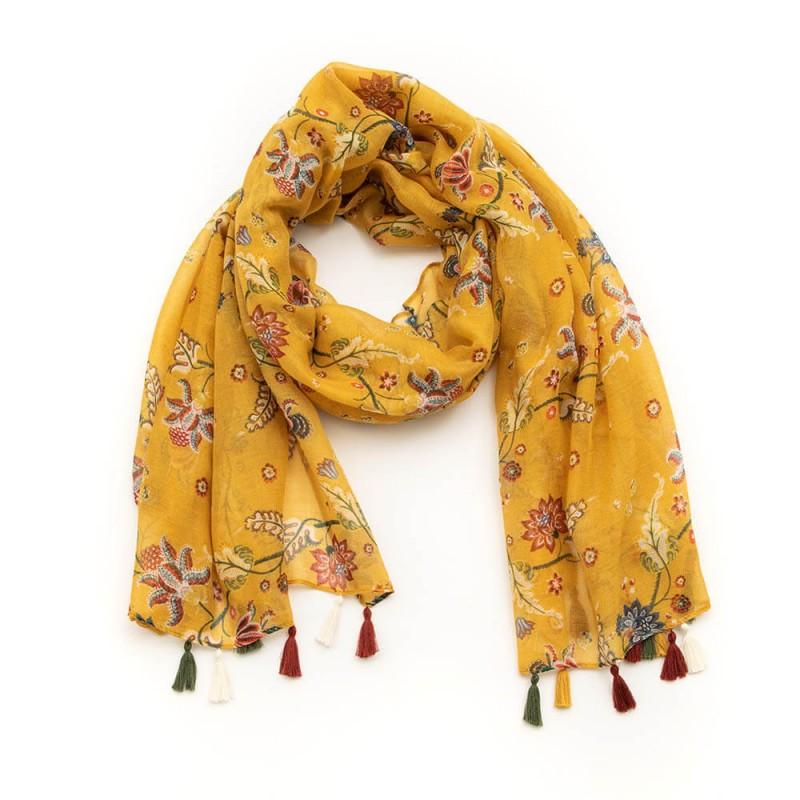 Chèche fleuri aux couleurs safranées et pompons