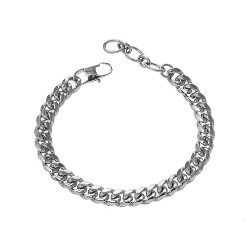 Bracelet argenté sur chaîne en maille gourmette