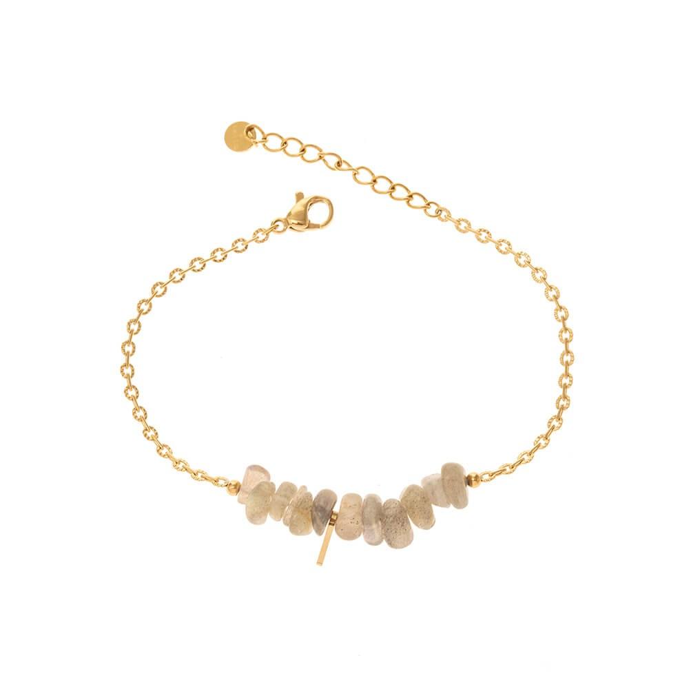 Bracelet doré avec pierres naturelles