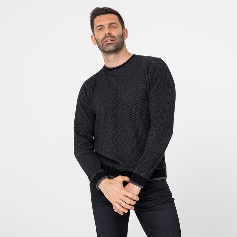 Pull tricoté façon sweat en coton responsable