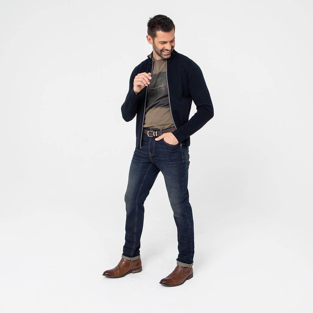 Jean bleu en denim stretch