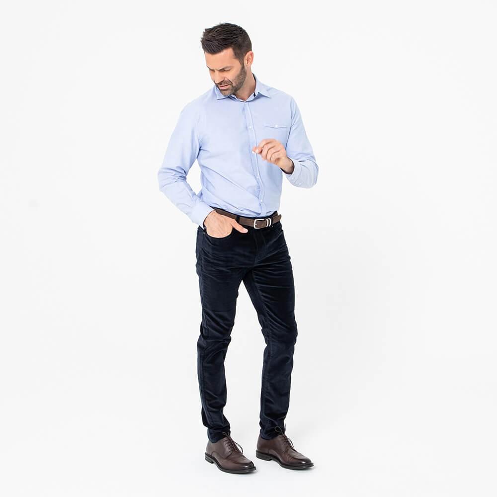 Pantalon en velours bleu nuit