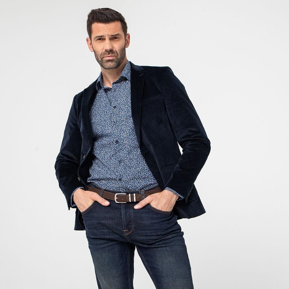 Chemise droite ajustée imprimé bleu 100% coton responsable