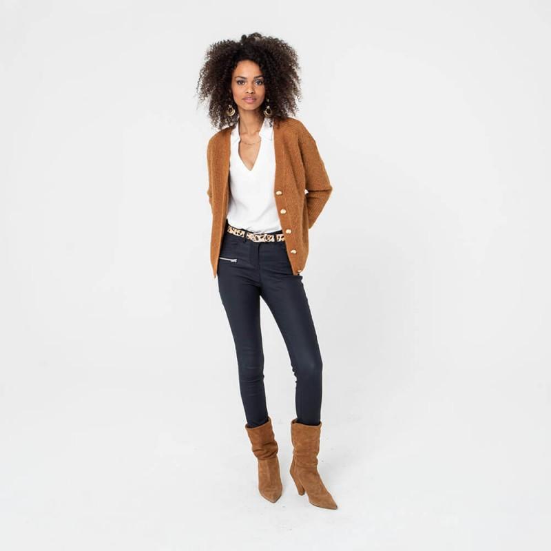 Pantalon en simili cuir bleu marine