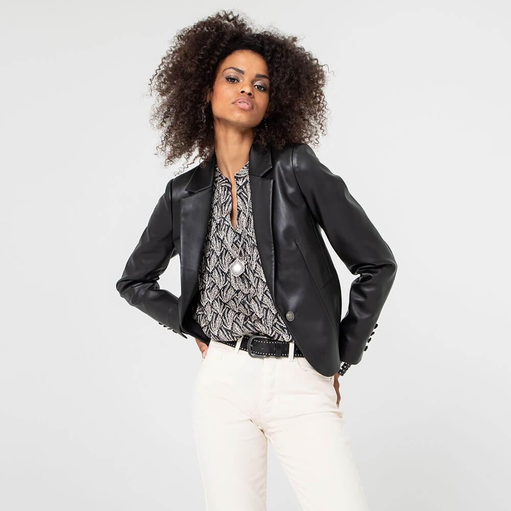 Veste blazer en faux cuir noir
