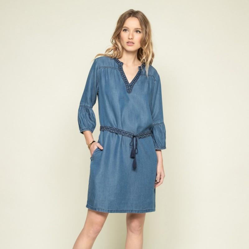 robe bleu denim courte avec ceinture VOEUX