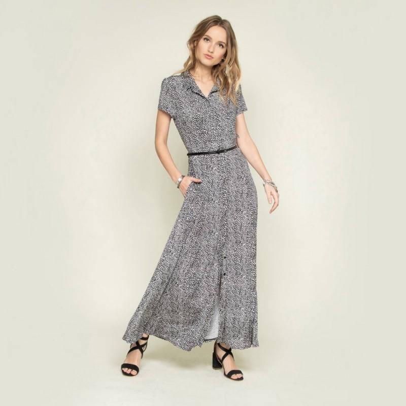 robe chemise longue avec ouverture fente