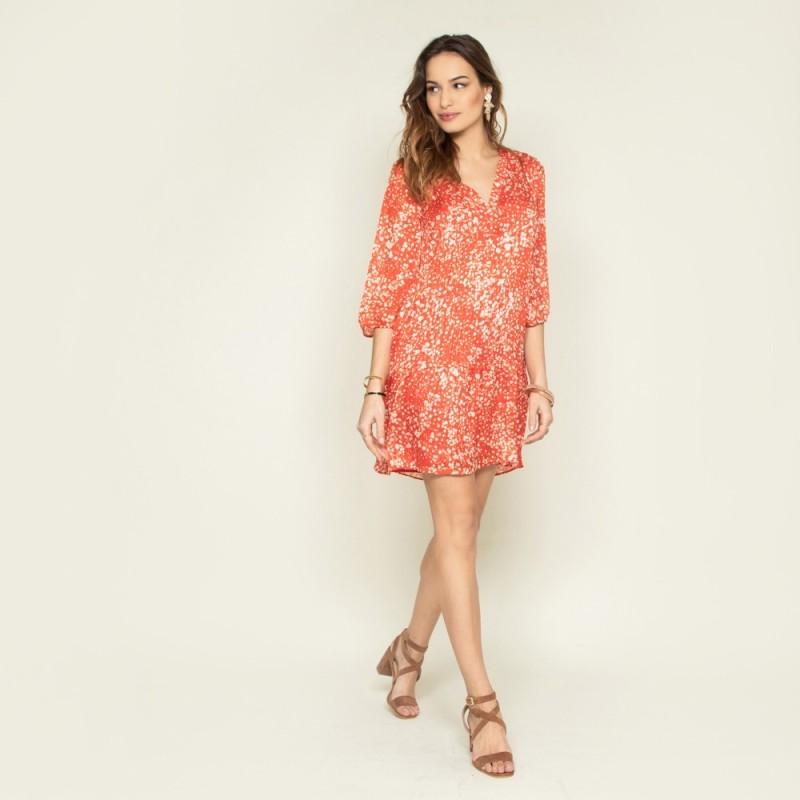 robe courte évasée coquelicot avec décolleté V et ouverture dos VERITE