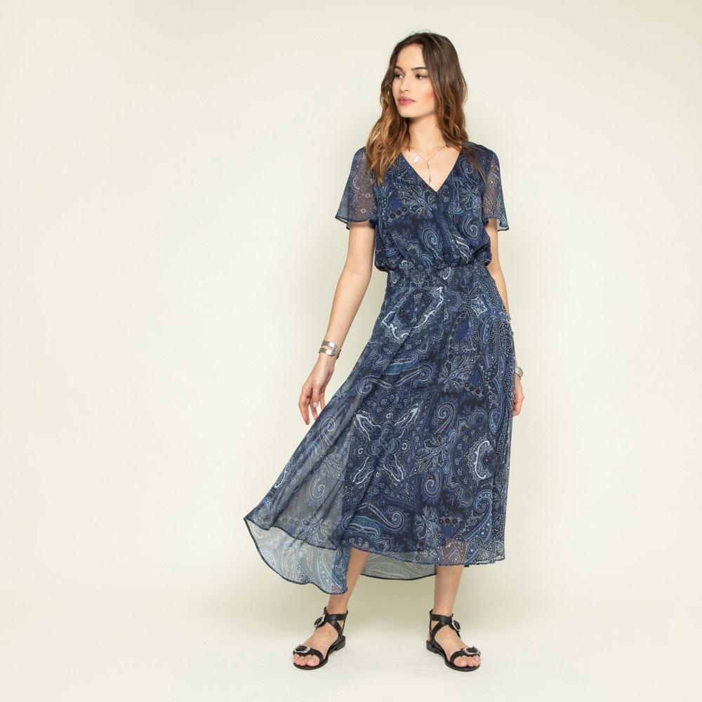 robe longue bohême à imprimé bleu en voile